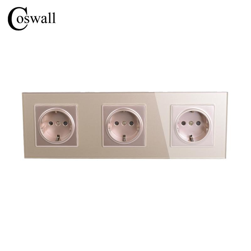 COSWALL Wall Crystal Glass Panel 3 Way Power Socket Plug Grounded ...