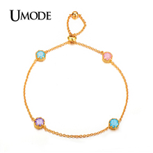 UMODE New Luxury  Gold Plated Link Chain Multicolor Ice Cream CZ  Stones Chain Bracelets For Women Jewelry AUB0082A