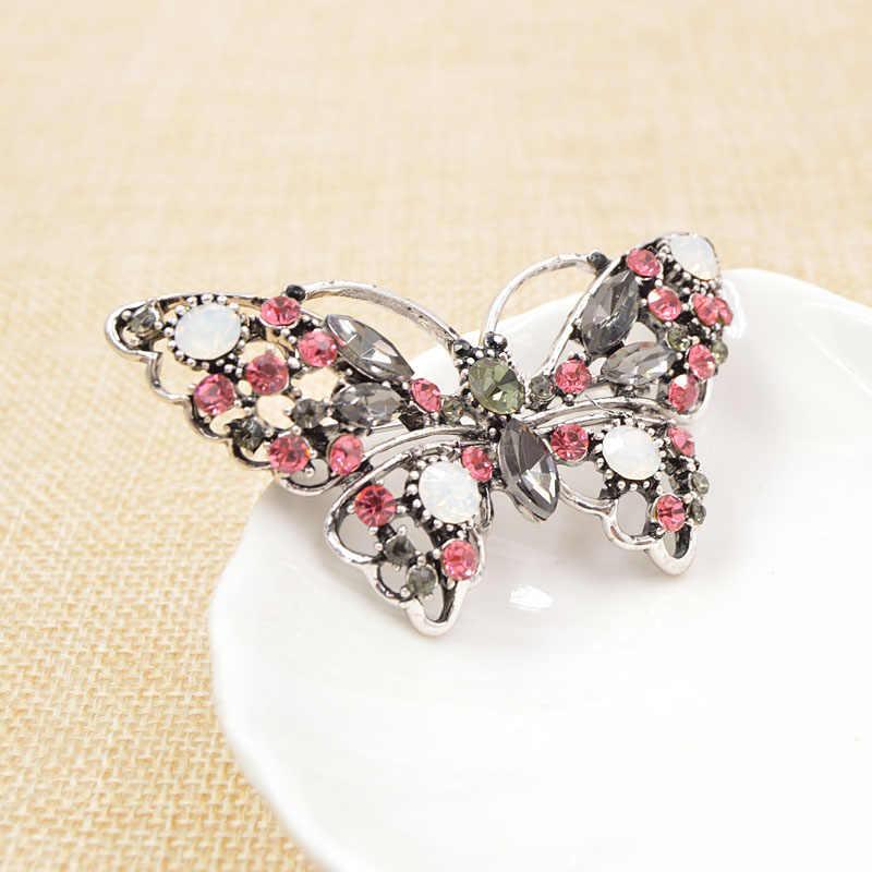 Cinkile Berlian Imitasi Kupu-kupu Bros untuk Wanita Elegan Pernikahan Bros Pin Pesta Gaun Aksesoris Korsase Musim Panas Gaya Baru 2018