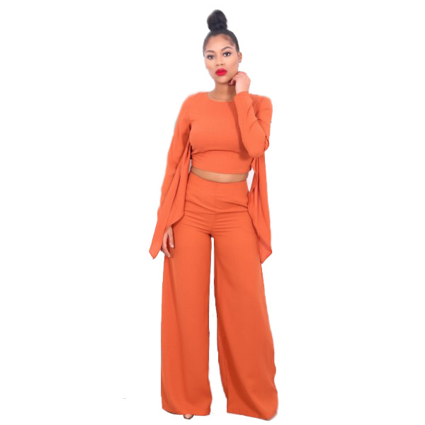 Echoine Macacao Feminino Longo New Winter Orange Long Sleeve Crop Top And Wide Leg Pant Jumpsuit Hollow Out Rompers S-XL