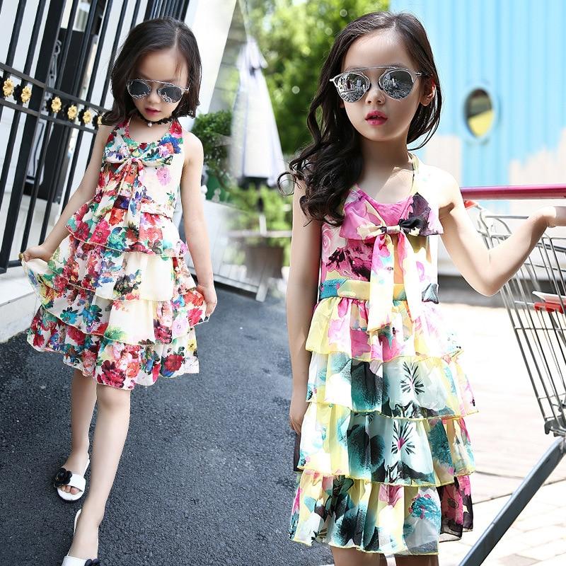 2018 Fashion Summer Girls Dresses For Kids Sleeveless Tiered Beach Dresses Girls Beautiful Chiffon Princess Casual Party Dress