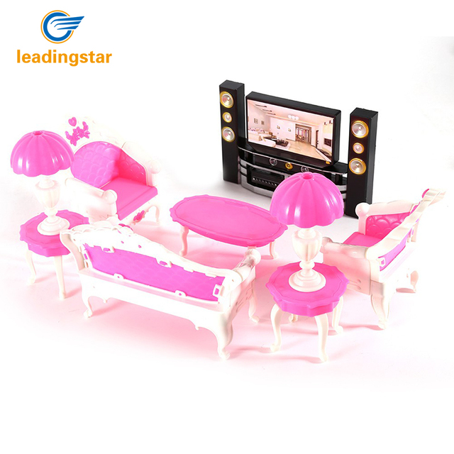 Doll Furniture 7Pcs Deluxe For Barbies Dolls Living Room Furniture  Sofa+Chair+Table+