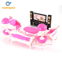LeadingStar 7Pcs Deluxe Barbie Dolls Living Room Furniture Sofa+Chair+Table+Lamps+TV Cabinet Entertainment Set