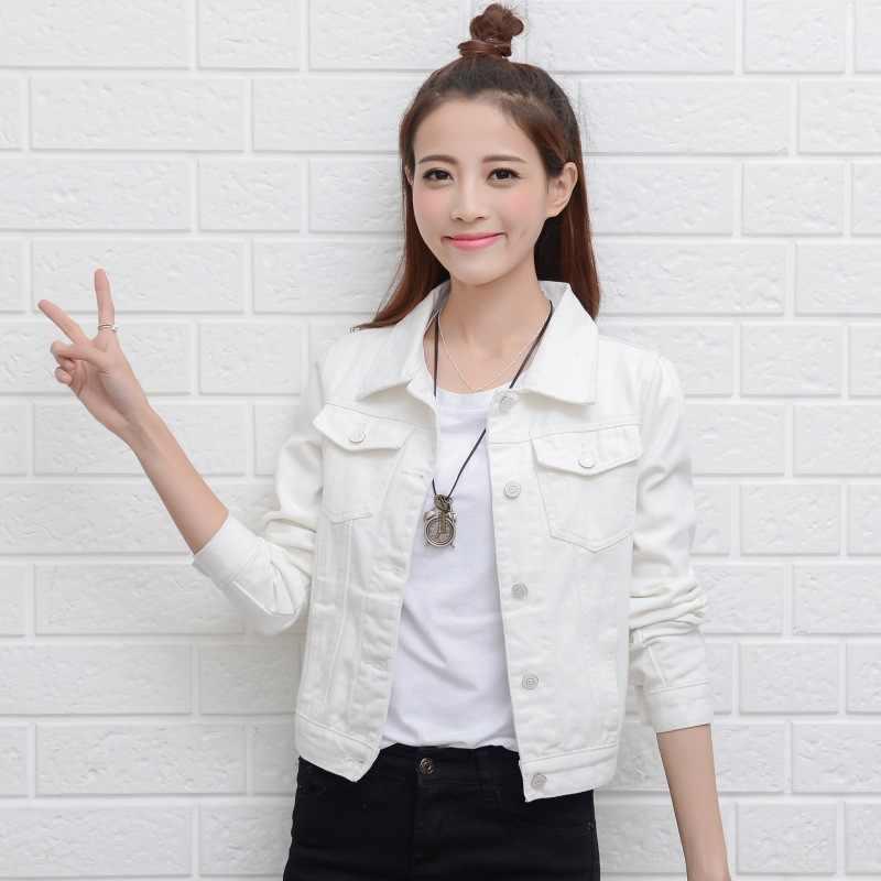 Красная, белая, розовая джинсовая куртка женская тонкая Базовая куртка весна 2019 женская джинсовая куртка Jaqueta Женская куртка-бомбер черная куртка Casaco