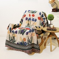 Flowers Vintage blanket double sided cotton knitting wall tapestry sofa towel bed cover carpet farmhouse decor wall hanging