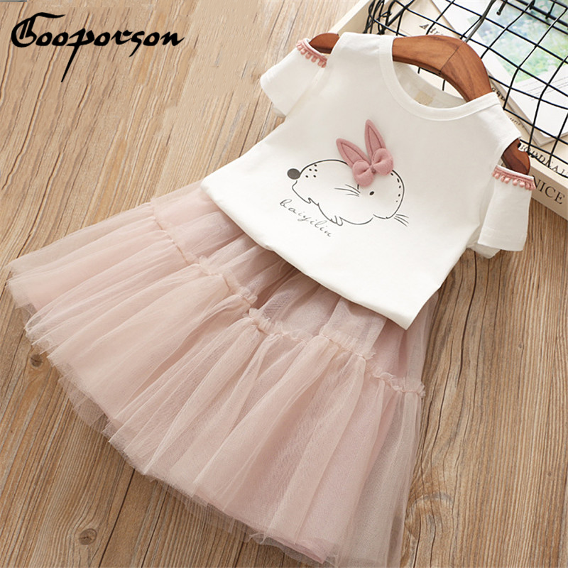 New 2018 Baby Girls Rabbit Clothes Set Summer Shoulder Off Lovely T Shirt And Tutu Skirt Kids Girl's 2 Pcs Outfits Clothing Suit aile rabbit 2017 new girls clothing suit long sleeve t shirt yarn skirt 2 pcs set letter flower lace bow kids autumn suit