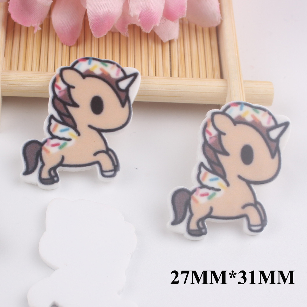 50 Pcs Lote 27 31 Mm Unicornio Dos Desenhos Animados Do Kawaii