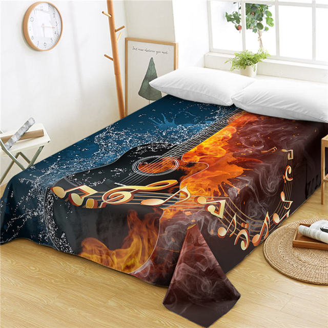 us 17 0 40 off beddingoutlet fire and water guitar bed sheets 1 piece 3d printed flat sheet music youth bedding vivid bedspreads sabanas sheet