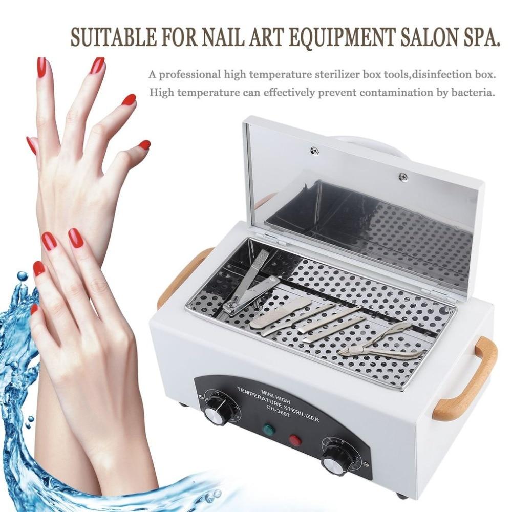 все цены на Russian Style High Temperature Sterilizer Box Nail Art Salon Portable Sterilizing Manicure Nail Beauty Tool EU Plug Fast arrival