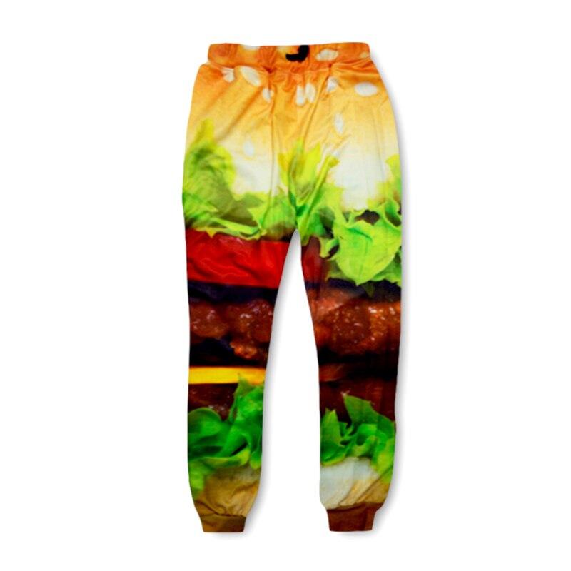 Men Casual Pants Womens Skinny Fitness Sweatpants Harajuku Burger Food 3d Print Sweat Harem Pantalones Hip Hop Joggers Trousers