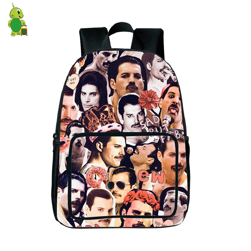 Famous Rock Star Freddie Mercury Overlay Laptop Bags Children School Bags For Teenagers Hip Hop Printing Womens Mens Travel Bags