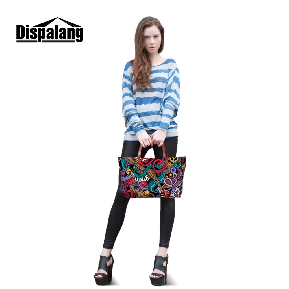 Dispalang Tours Ladies  Handbag at Low Price Fashion Trends Lady Bags  Design Your Own Polyester Tote Bag 3D Music Note Printed-in Top-Handle Bags  from ... 8860446a3560c