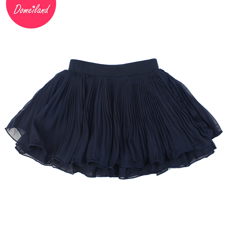 2017 Fashion Summer brand domeiland Kids Clothing Girls Tutu Skirts Chiffon Bow Children party layer pleated Skirt clothes