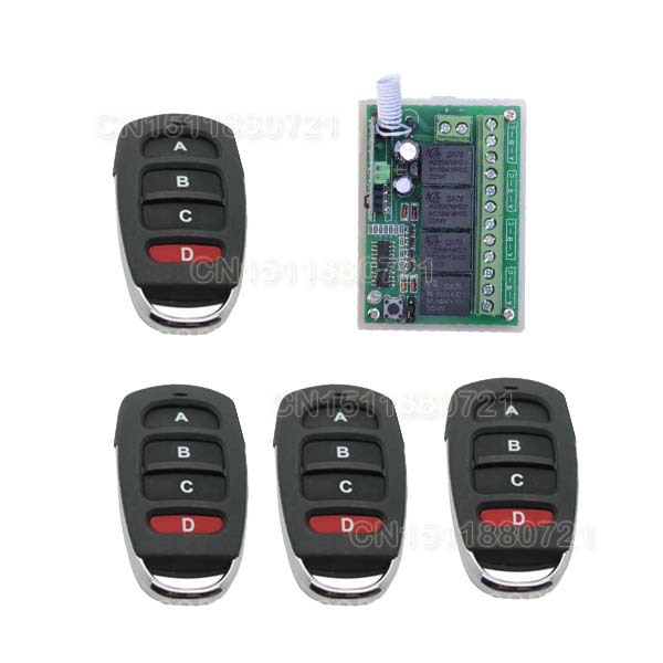 DC12v 4 CH 10A learning code RF Remote Control Switches 315MHZ /433MHZ Momentary/Toggle/Latch AK-RK04S-12 free shipping learning code 315mhz dc12v