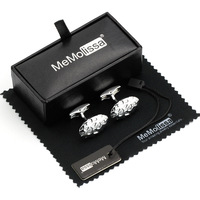 MMS Silver Bump Oval Cufflink Tie Clip Set Display Box Wiping Rag And Tag Gift For