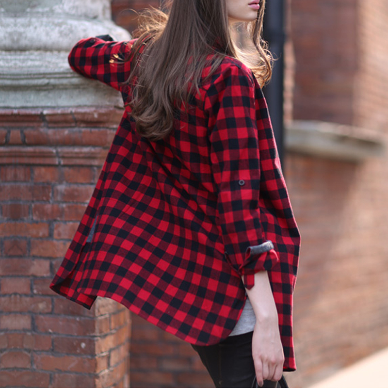 Hot red black plaid shirt women 2015 fashion casual long Womens red tartan plaid shirt
