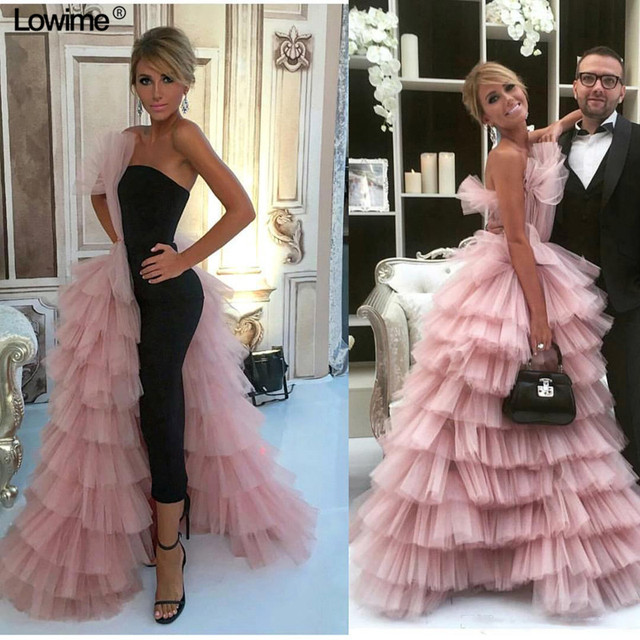 82b171cff69 Gorgeous Pink Tulle Tiered Ruffles Formal Evening Dresses 2018 New  Cascading Long Celebrity Evening Party Dress Gowns