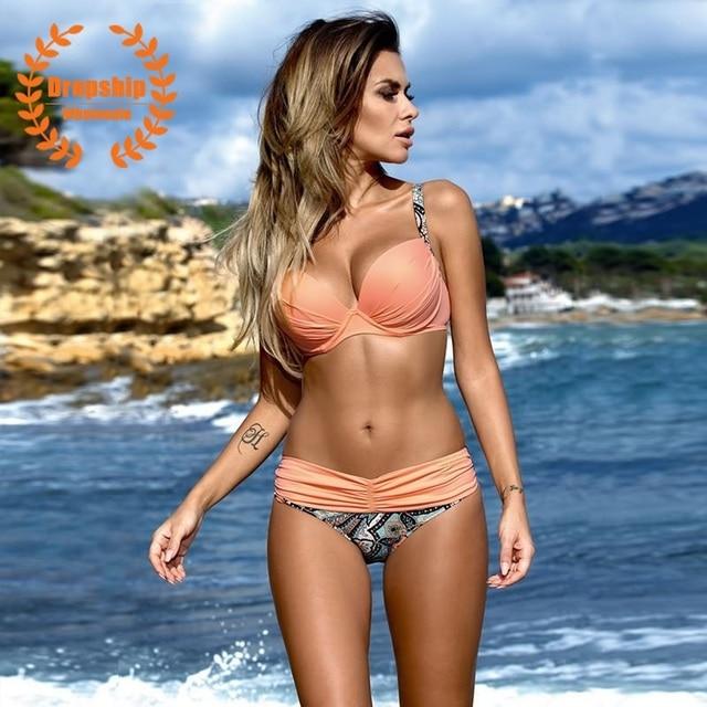 Super Sexy Women Bikini Set Hot Push Up Underwear Top Flower Bottom Bikinis Padded Female Biquini