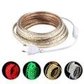 Tanbaby tira de Led de 5050 de 220 V con enchufe de alimentación de 60 Led/M IP67 impermeable al aire libre de la decoración del hogar de iluminación flexibe cinta RGB