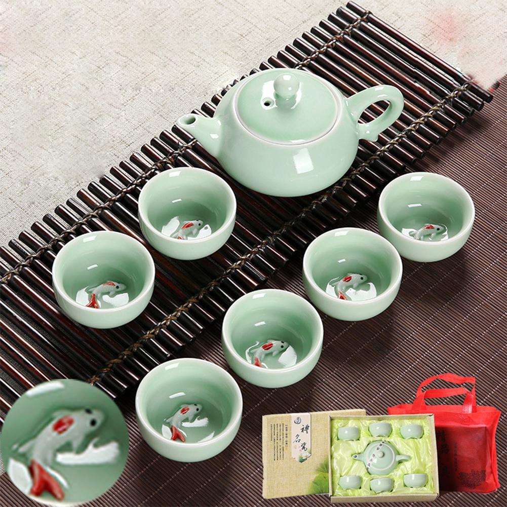 Adeeing, 7 шт., чайный сервиз из Celadon, керамический чайный горшок, чайная чашка, бизнес подарок, украшение
