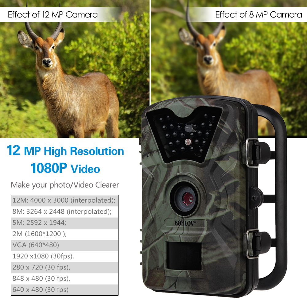 Image 3 - BOBLOV CT008 Wildlife Trail Photo Trap Hunting Camera 12MP 1080P 940NM Waterproof Video Recorder Cameras for Security Farm Fast-in Hunting Cameras from Sports & Entertainment