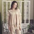Autumn Vintage Princess Lounge Pijama Cotton Women Sleepwear Royal Lace Round-Neck Pajama Sets High Quality Pyjama Homewear