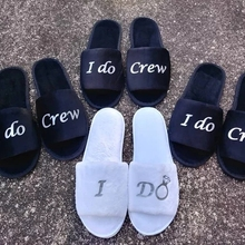 Personalise black Wedding Bridesmaid Bridal Bride Slippers I do crew Hens Night Bachelorette Spa Slippers party favors gifts