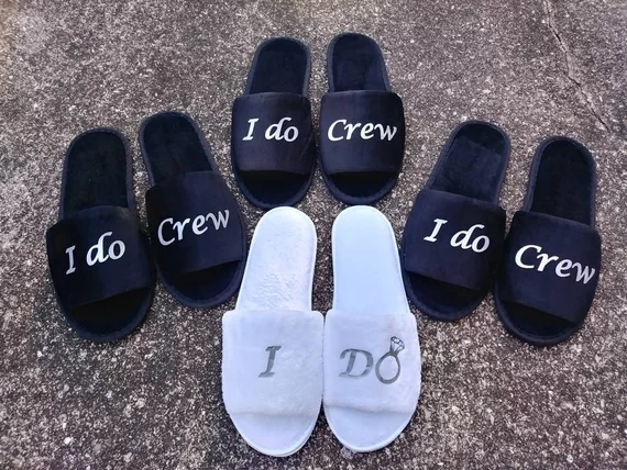 759f942570 Personalise black Wedding Bridesmaid Bridal Bride Slippers I do crew Hens  Night Bachelorette Spa Slippers party favors gifts-in Party DIY Decorations  ...