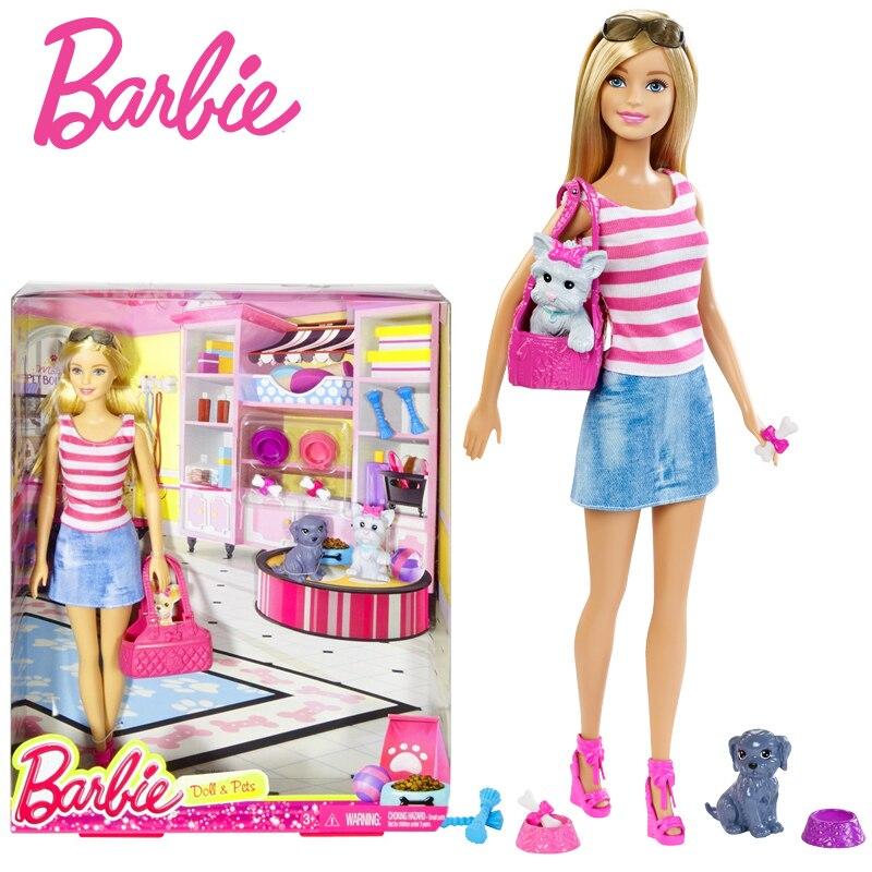 Barbie Originais  Pet Set Dolls With Girl Dolls Barbie-dolls Boneca Children Gift  Brthday Gift For Girls Brinquedo Toys  DJR56 barbie