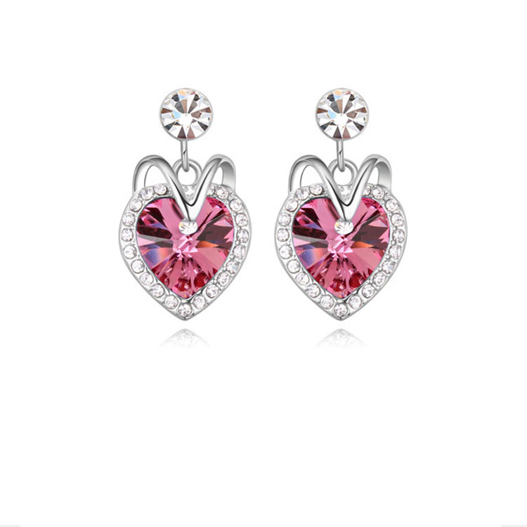 2015 HOT Sale Siver Zinc Alloy Trendy Women Blue Crystal Ocean Heart Stud Earring Titanic Heart of Ocean Womans Stud Earrings 5