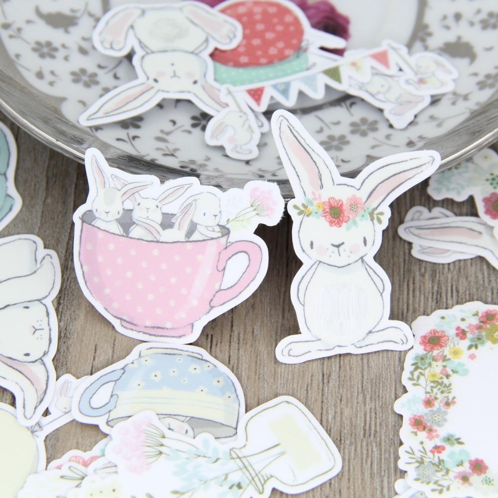 30cs Cute Rabbit Cup Bunny Cups Balloon Planner Deco Scrapbooking Stickers Decorative Sticker DIY Craft Album Planner Decals japan imports midori planner calendar decorative stickers cute animal 5pcs