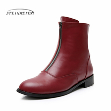 Women flat zip Boots Genuine leather Ankle short black  autumn boots for women slip on winter boots 2019 shoes chelsea boots