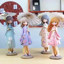 1pcs Creative H-25.5cm Japanese Kimono Umbrella Girl Resin Figurines Ornaments Gifts Toys Gift Students Bedroom Decoration