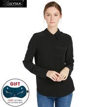 LILYSILK Silk Blouse for Women 18MM Wrinkle Free Basic Long Sleeve Button Shirt Soft