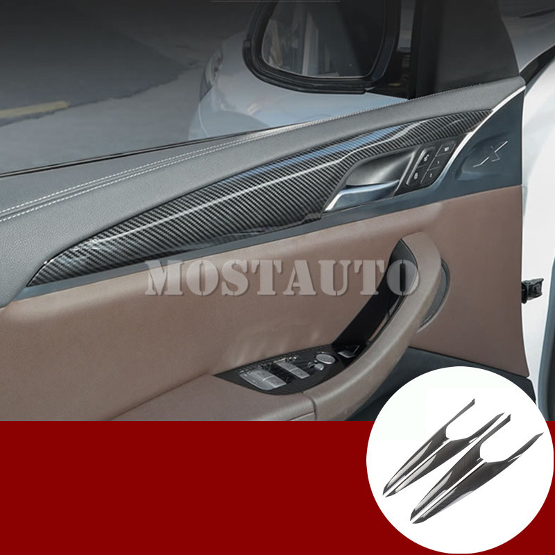 For <font><b>BMW</b></font> <font><b>X3</b></font> <font><b>G01</b></font> X4 G02 <font><b>Carbon</b></font> Fiber Style Car Door Panel Cover Trim 2018-2019 4pcs image
