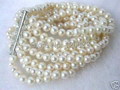 peruvian virgin Beautiful 8 rows Charming! 7-8mm Genuine Akoya White pearl bracelet bangle wholesale Cheap bracelets
