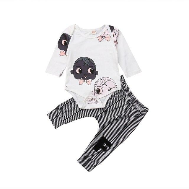 24d6189a9fbc Emmababy Autumn 2PCS Newborn Baby Boy Cute Cartoon Long Sleeve Romper+Stripe  Pants Clothes Outfit Set 0-18M
