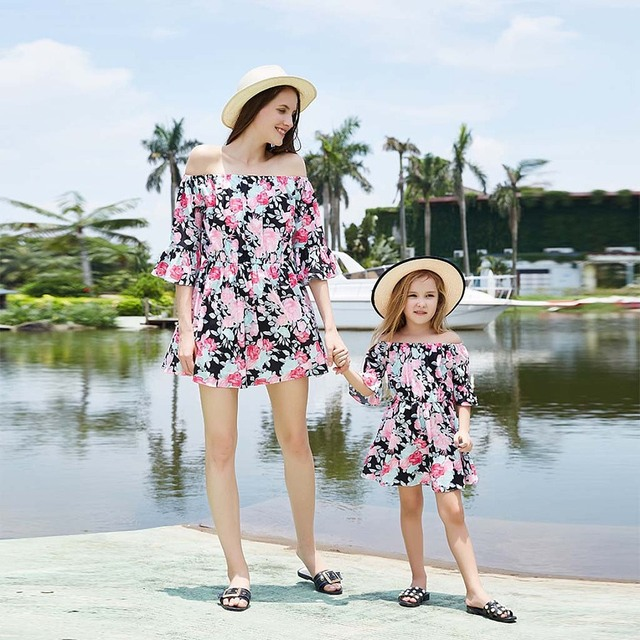 casual mother daughter dresses above knee family look mommy and me matching clothes outfits mom mum mama daughter dress clothing 1