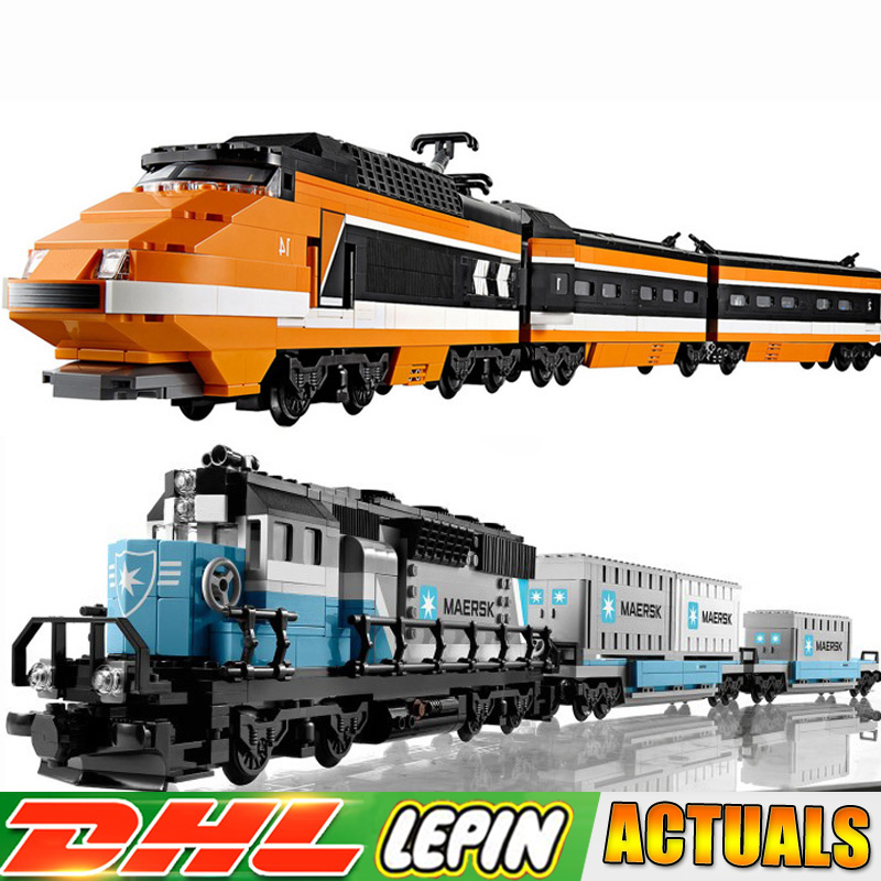 LEPIN 21006 Maersk Train +21007 Horizon Express Technic Building Block Bricks Toy for Children Compatible LegoINGlys 10219 10233 lepin 21007 creator horizon train series the horizon express model building block 1351pcs bricks compatible with lepind 10233