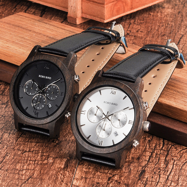 BOBO BIRD WP28 montres hommes en bois de luxe chronographe résistance à l'eau montre à Quartz affichage de la Date cadeau pour hommes dans une boîte-cadeau en bois 2