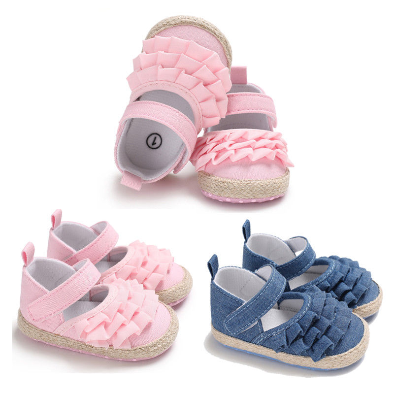 2018 New Brand Solid Cute Baby Infant Kids Girl Bowknot Shoes Soft Sole Crib Prewalker Newborn Shoes 0-18M
