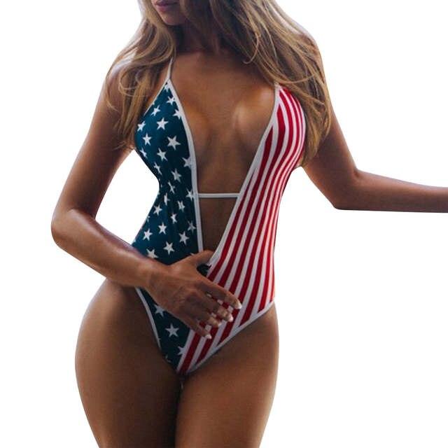 aecc5d6ad6 Bikini 2019 Women American Flag Loose 4th Of July One Piece Beach swimwear  women bathing suit