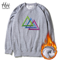 HanHent Payne Lodz Triangle Sweatshirts Fleece Thicken Men Winter Long Sleeve O-Neck Creative Pullover Hoodies Hip Hop AD0465