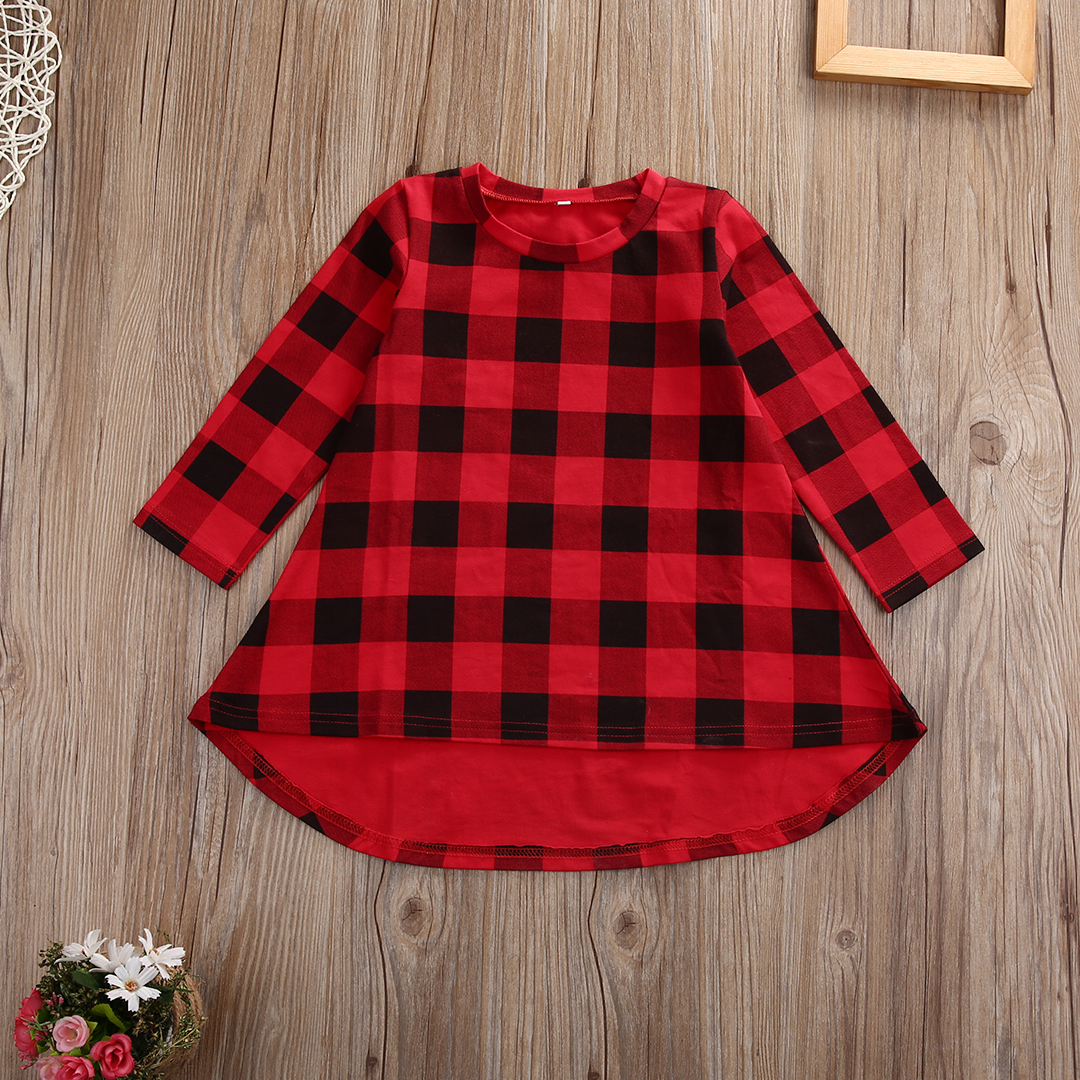 Cute Toddler Kids Girls Dress 2018 Spring Long Sleeve Red Plaid Children Dresses Casual Cotton Dress 1-6Y plaid long sleeve belted midi dress