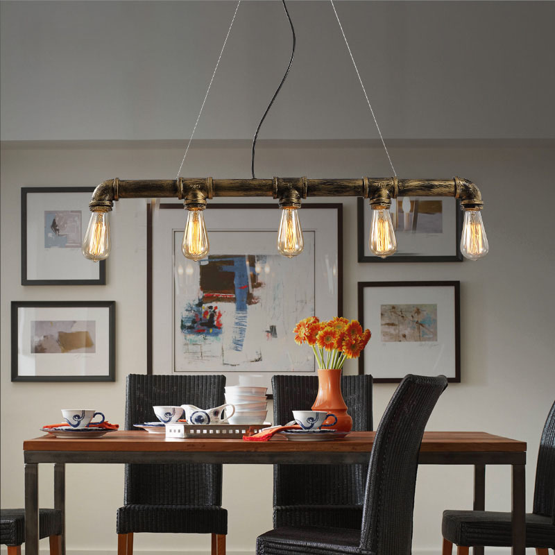 Loft Vintage Edison Pendant Lights Personalized Bar Lighting Industrial Water Pipe Lamp E27 Black Antique Lamps In From