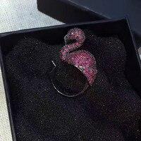 นกออกแบบCzปูตั้งค่าแหวนสำหรับผู้หญิงปรับขนาด