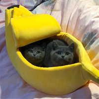 Cama para gato y perro con forma de plátano alfombra de Casa perrera duradera cesta de cojín para cachorro perro caliente portátil suministros para gatos S/M/L/XL