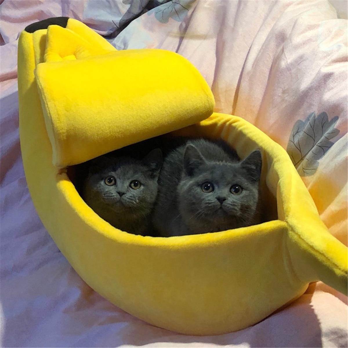 Forma de plátano mascota perro gato cama casa estera perrera perrito cojín cesta caliente portátil perro gato suministros S/M/L/XL