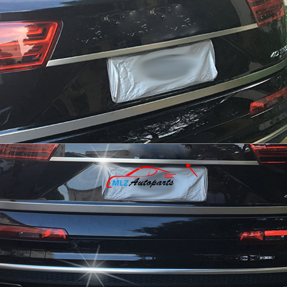 Car Rear Tail Trunk Light Middle Bumper Lid Stripe Cover Trim Stainless Steel For Audi Q7 4M 2016 2017 car accessories fit for jeep compass 2017 2018 stainless steel rear tailgate trunk lid tail gate protector trunk cover trim 2pcs