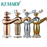 KEMAIDI Good Quality Bathroom Basin Faucet Antique bronze finish Brass Sink Faucet Single Handle Vessel Sink Water Tap Mixer